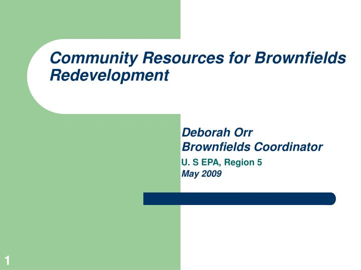 community resources for brownfields redevelopment n.