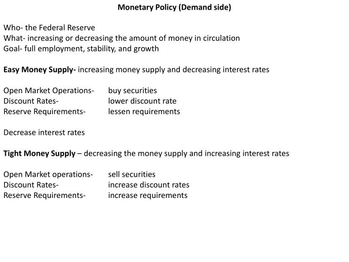 Monetary Policy (Demand side)