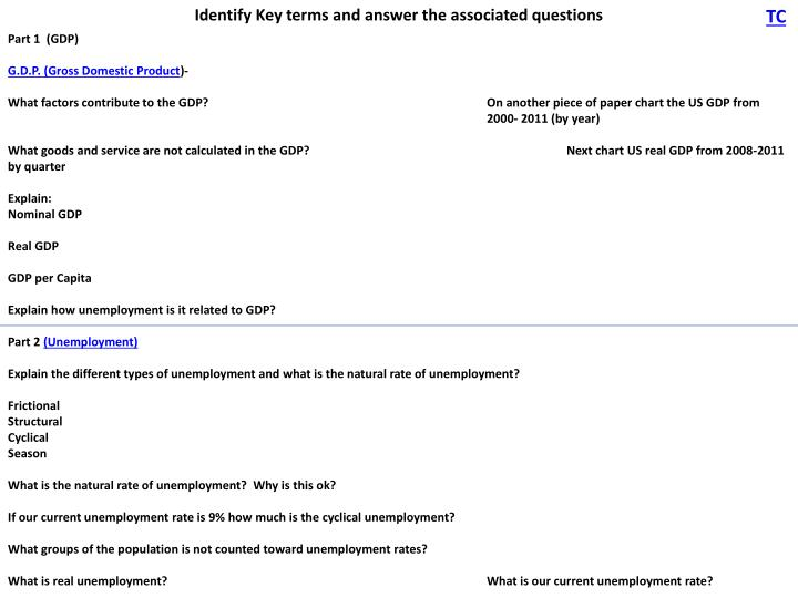 Identify Key terms and answer the associated questions
