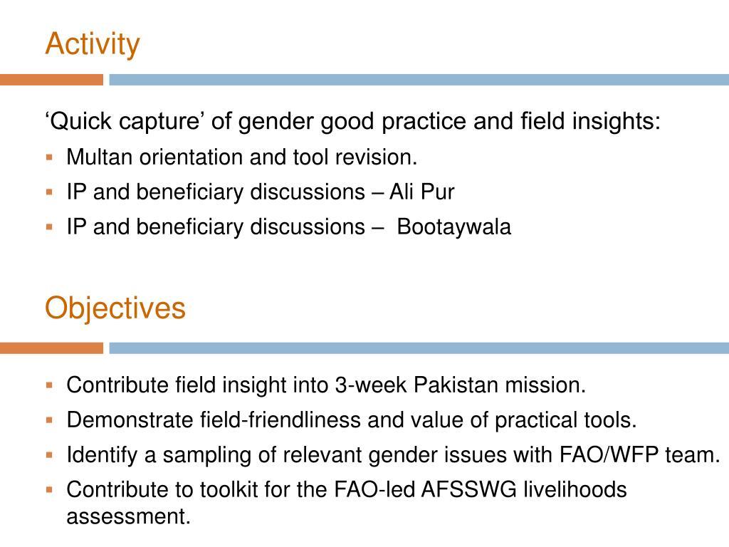 PPT - Gender Analysis in Agriculture Punjab - Pakistan