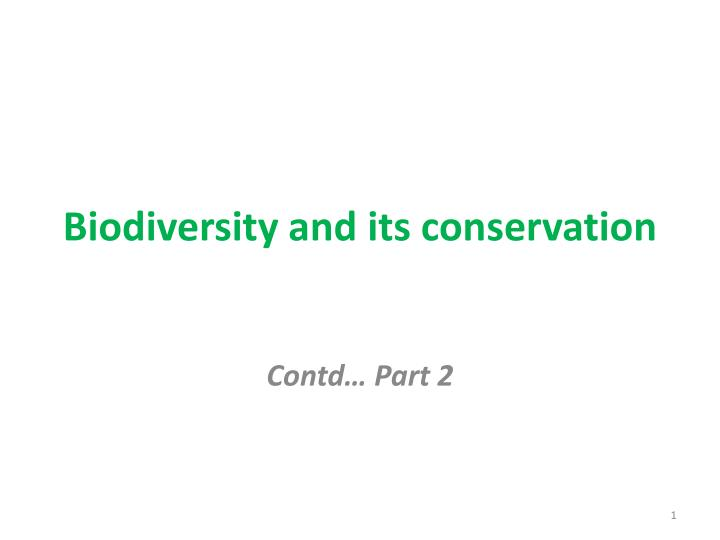 biodiversity and its conservation n.