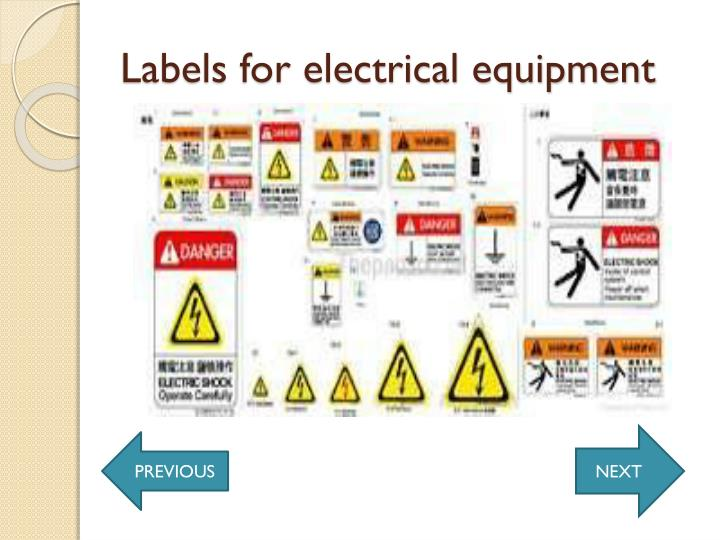 Labels for electrical equipment