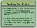 seeking certification