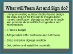 what will team art and sign do