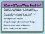 what will team water pond do
