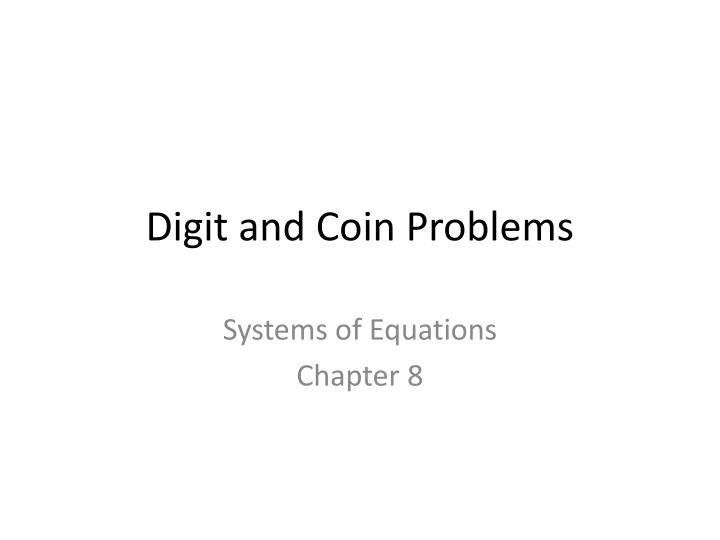 digit and coin problems n.
