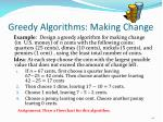 greedy algorithms making change