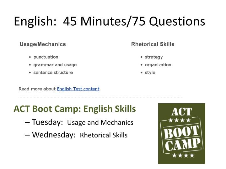 English:  45 Minutes/75 Questions