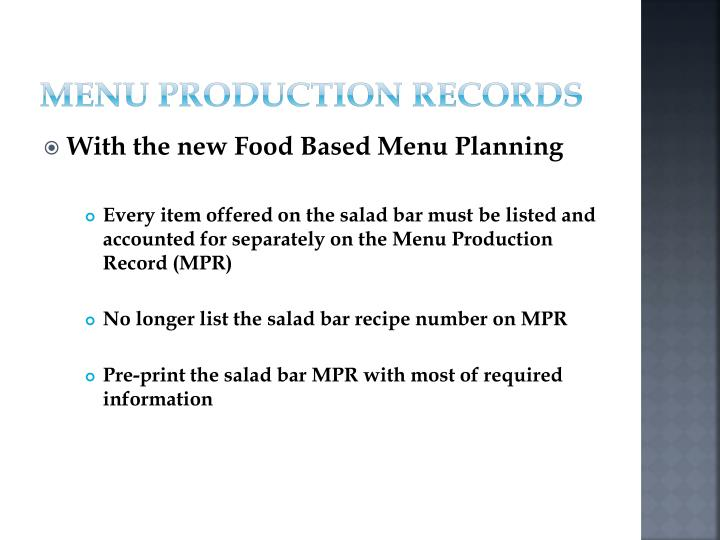 Menu Production Records