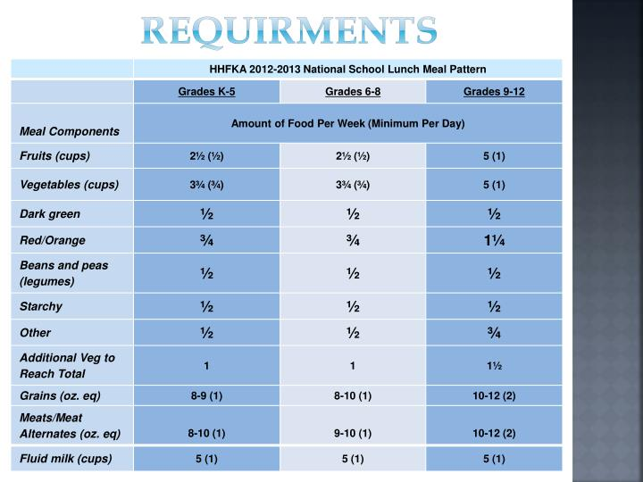REQUIRMENTS