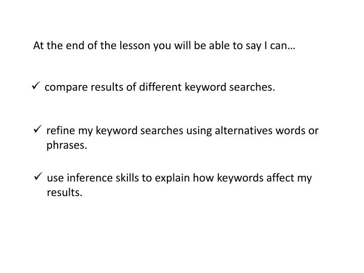 compare results of different keyword searches n.