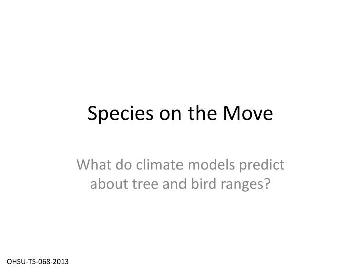 species on the move n.