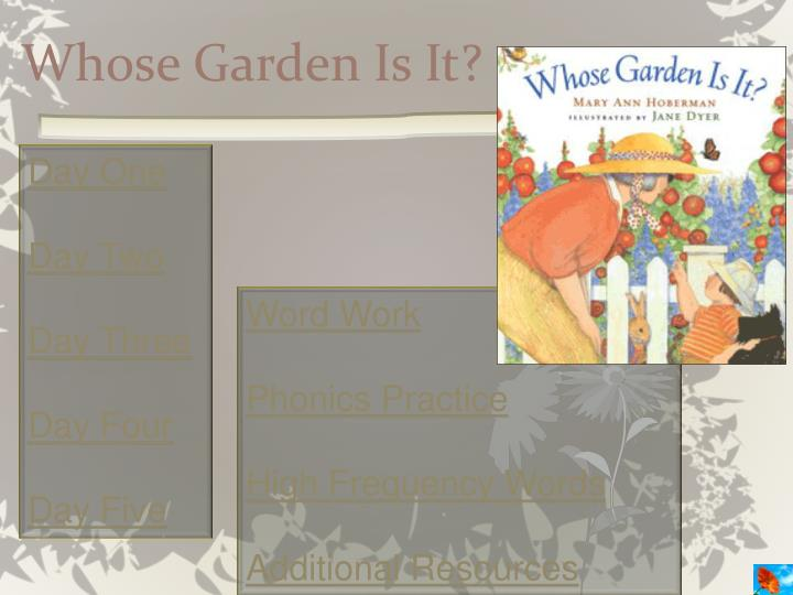 whose garden is it n.