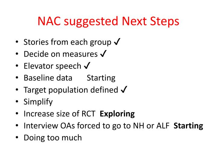 NAC suggested Next Steps
