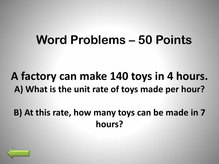 Word Problems – 50 Points