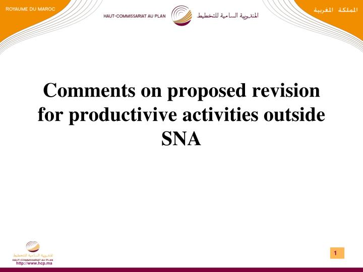 comments on proposed revision for productivive activities outside sna n.
