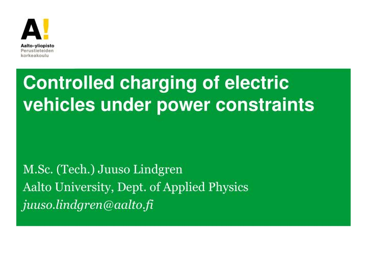 controlled charging of electric vehicles under power constraints n.