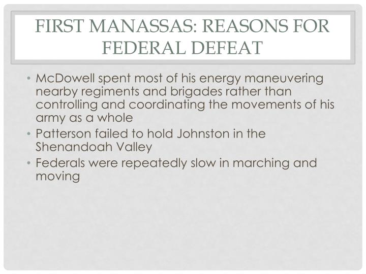 First Manassas: Reasons for Federal Defeat