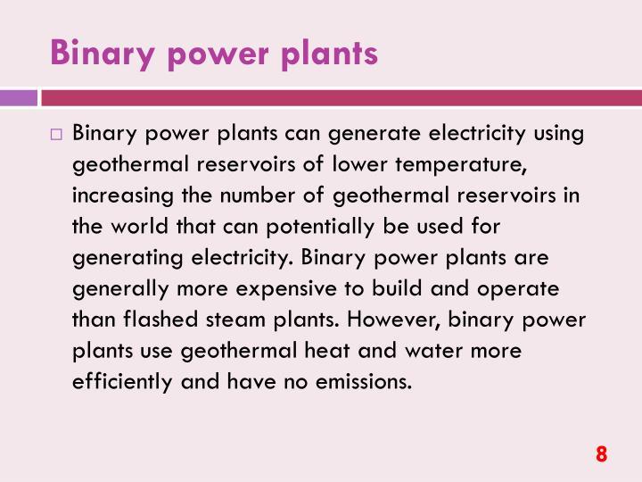 Binary power plants