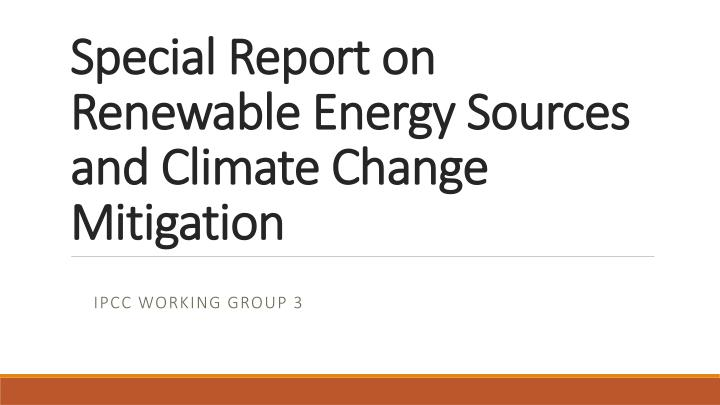 special report on renewable energy sources and climate change mitigation n.