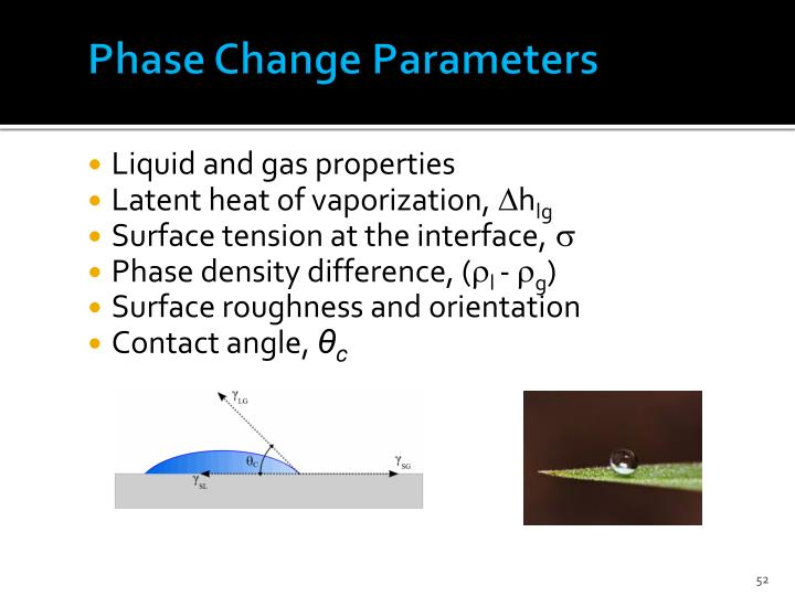 Phase Change Parameters