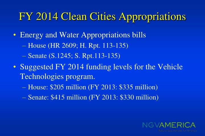 Fy 2014 clean cities appropriations