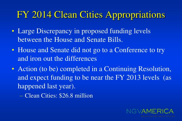 Fy 2014 clean cities appropriations1