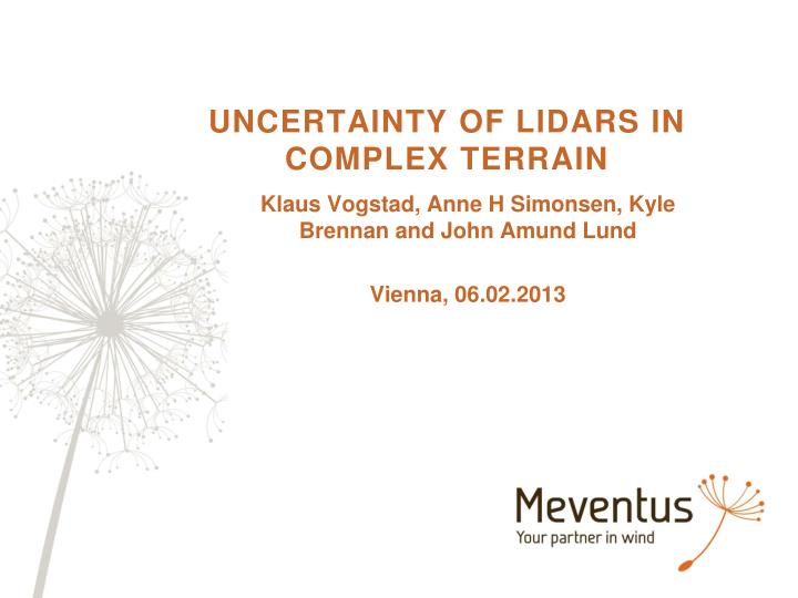 uncertainty of lidars in complex terrain n.