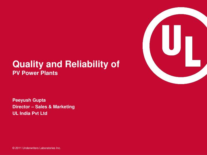 quality and reliability of pv power plants n.