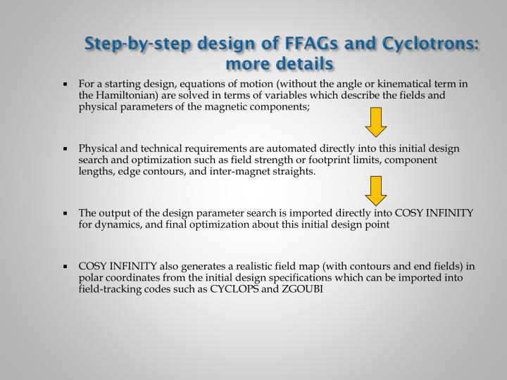 Step-by-step design of FFAGs and Cyclotrons: