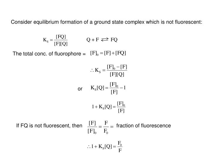 Consider equilibrium formation of a ground state complex which is not fluorescent: