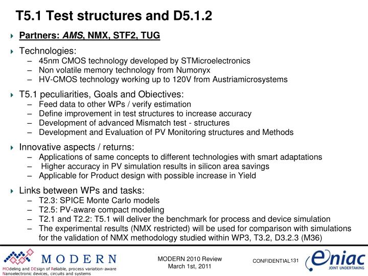 T5.1 Test structures and D5.1.2