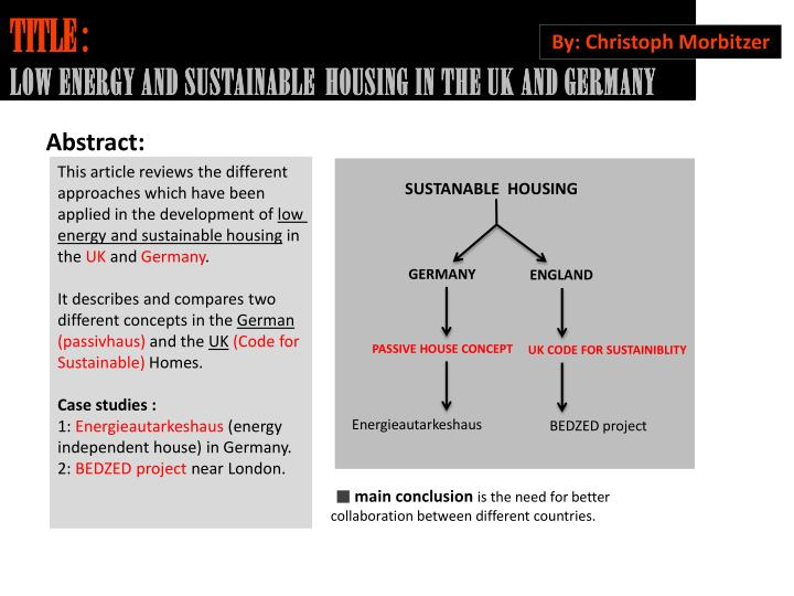 title low energy and sustainable housing in the uk and germany n.