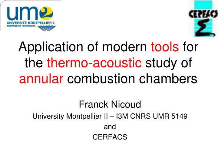 application of modern tools for the thermo acoustic study of annular combustion chambers n.