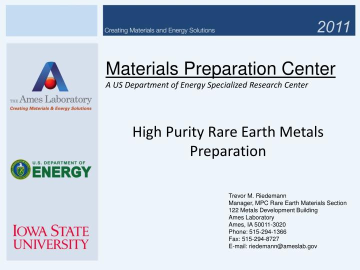 materials preparation center a us department of energy specialized research center n.