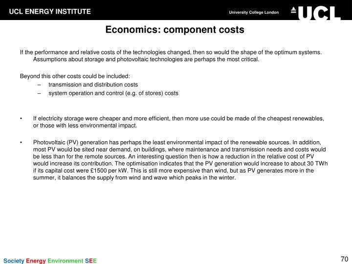 Economics: component costs