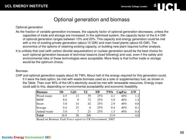 Optional generation and biomass