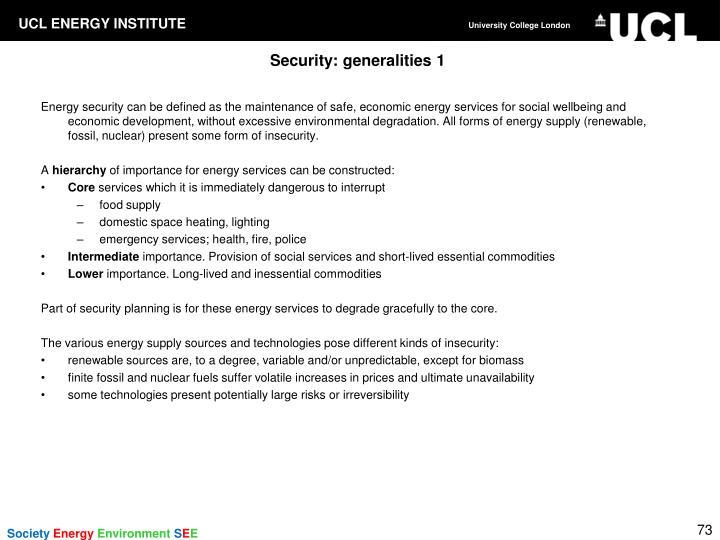 Security: generalities 1
