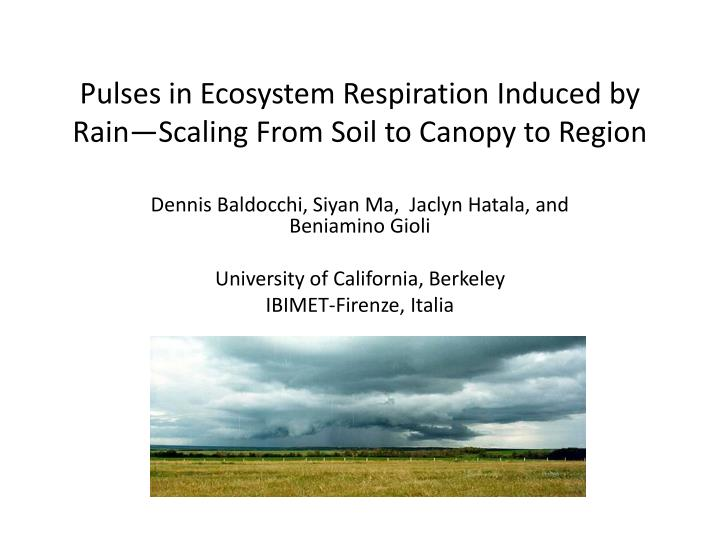pulses in ecosystem respiration induced by rain scaling from soil to canopy to region n.