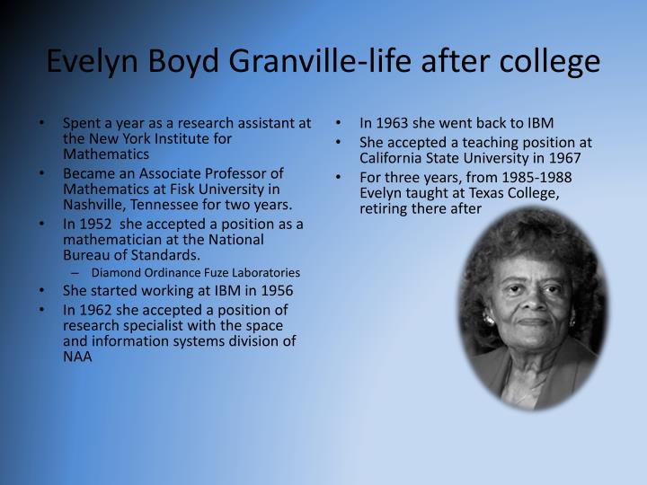 evelyn boyd granville math Unsung: dr evelyn boyd granville the calculations of dr evelyn boyd granville and other african-american mathematicians helped nudge humankind into outer space.