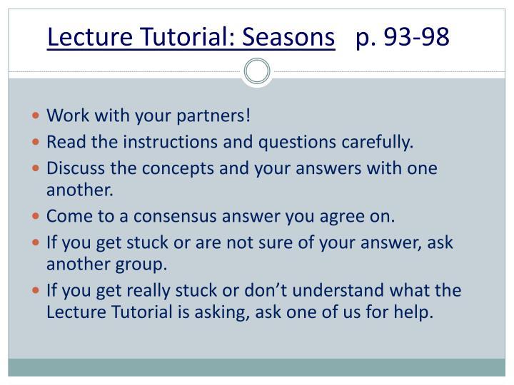 Lecture Tutorial: Seasons