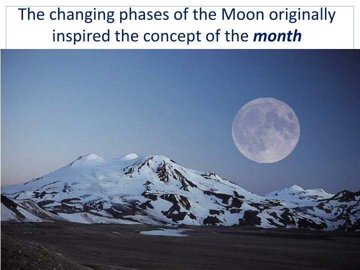 The changing phases of the Moon originally inspired the concept of the