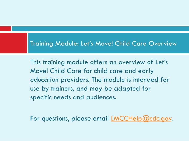 training module let s move child care overview n.