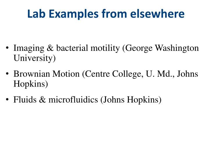 Lab Examples from elsewhere
