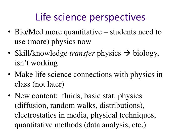 Life science perspectives