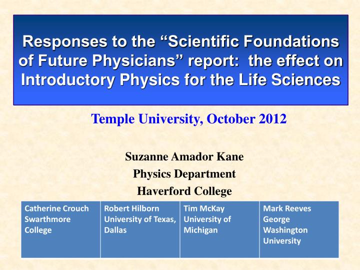 """Responses to the """"Scientific Foundations of Future Physicians"""" report:  the effect on Introducto..."""