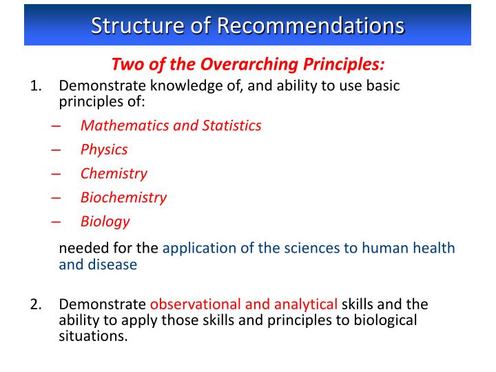 Structure of Recommendations