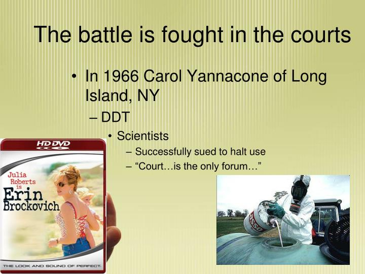 The battle is fought in the courts