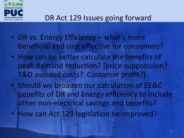 DR Act 129 Issues going forward