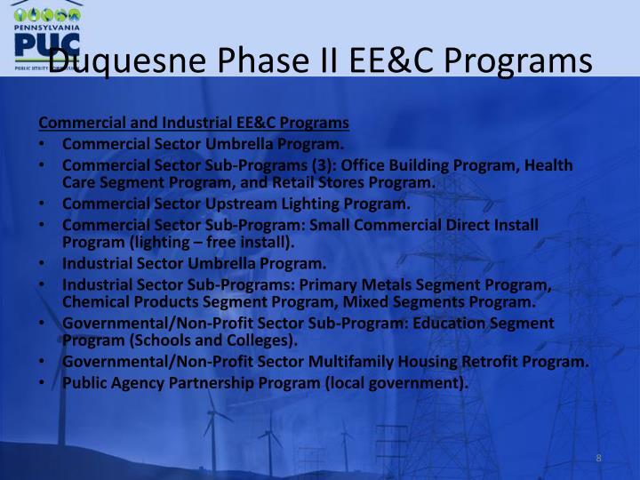 Duquesne Phase II EE&C Programs